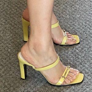 Gucci Heels Sandal Shoes Horsebit Yellow Strap 37